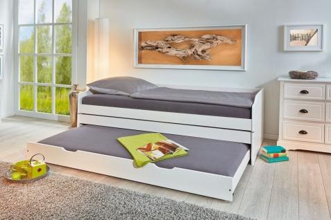 Klappbett 1 Bett-3 Schlafplätze inkl. Lattenroste Massivholz weiß 90 x 200 cm Schlafcouch L-Lenni