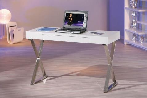 Computertisch exklusiver Schreibtisch Tastaturauszug hochglanz weiß Metall verchromt L-Greato