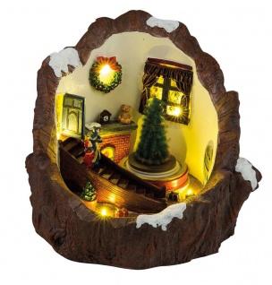 LED Weihnachtszimmer beleuchtet drehender Tannenbaum Weihnachtslieder Weihnachten H-Baumstumpf