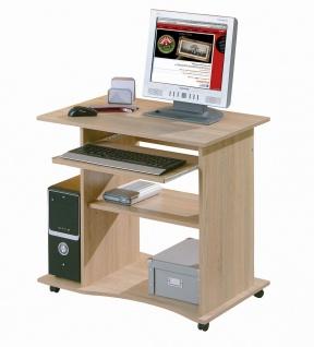 Computertisch Schreibtisch rollbar Tastaturauszug Farbwahl Sonoma Weiß Walnuß L-Dora