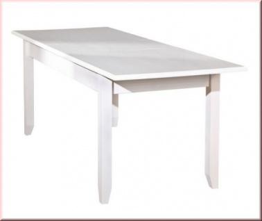 Tisch Ausziehbar Esstisch Ausziehtisch Landhausstil Massivholz Matt Weiß  Holzmaserung L Calabria 1.1   Kaufen Bei EH Möbel