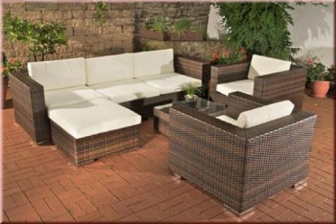 7-tlg Lounge Big Sofa 2x Sessel Tisch Hocker Auflagen Rattan 3 Farben CL-Grace