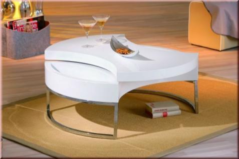 Couchtisch 2 Ebenen drehbar 2. Tischplatte Ablagemulden hochglanz weiß L-Turna - Vorschau 3