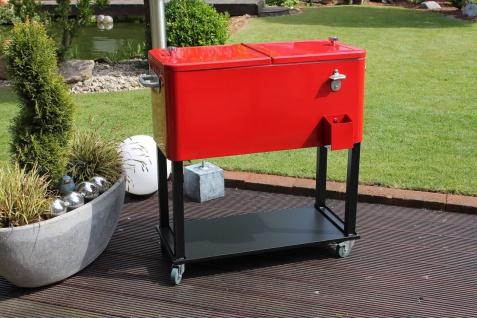 XXL Kühlbox Retro-Style 76 l Thermobox 2 Deckel zweigeteilt Rollen Wasserablauf LC-Cool