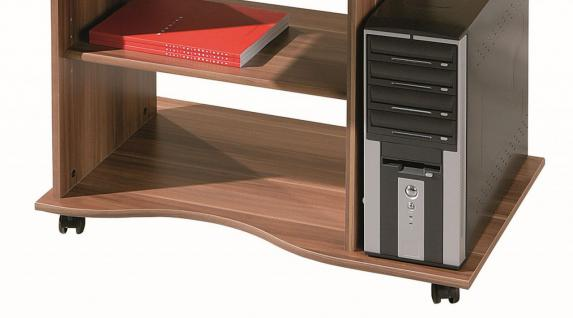 Computertisch Schreibtisch rollbar 3 Farben Sonoma Weiß Walnuß L-Dora - Vorschau 4