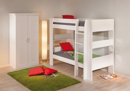Etagenbett 2x Einzelbett Lattenroste Massivholz weiß L-Dreamy - Vorschau 4