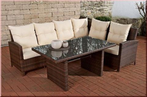 3-tlg Lounge Sitzgruppe Bank Eckbank Auflagen Tisch Rattan 4 Farben CL-Mika - Vorschau 2