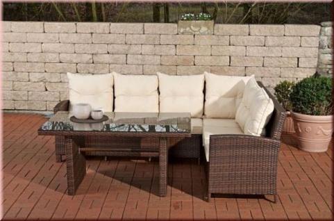 3-tlg Lounge Sitzgruppe Bank Eckbank Auflagen Tisch Rattan 4 Farben CL-Mika - Vorschau 3