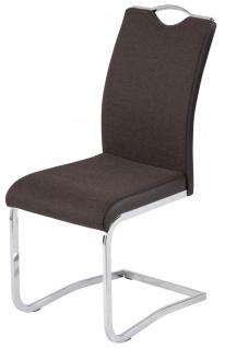 4er Pack Freischwinger Stuhl Materialmix PU Webstoff schwarz braun Kufengestell verchromt R-Loona