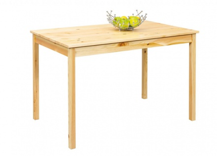 Tisch Esstisch 2 Farben wählbar Landhausstil Massivholz weiß natur 118x75x73 cm L-Carlo