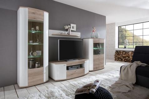 Wohnwand LED Beleuchtung hochglanz weiß 2 Farben Beton Eiche 2 Glasvitrinen TV-Schrank Board F-Round