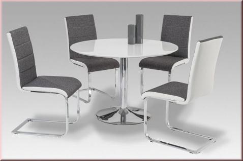 Tisch Esstisch rund Hochglanz weiß Ø 110 cm verchromt R-Lobby