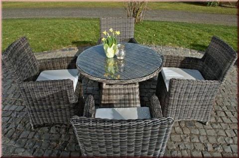 5-tlg Sitzgruppe Essgruppe Dining Lounge 4x Sessel Kissen Tisch Ø 90 cm Rattan grau meliert CL-Cuba