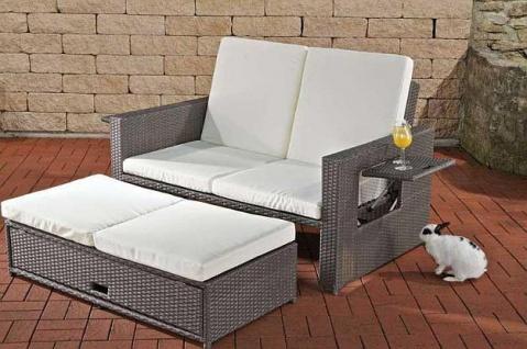 Lounge Sofa ausziehbar Hocker Daybed Rattan 7 Farben CL-Andy - Vorschau 1