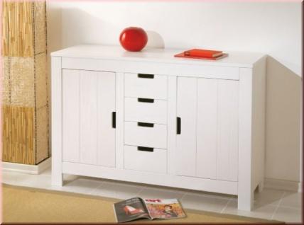 Sideboard Landhausstil 2 Türen 4 Schubladen Kommode Massivholz Kiefer weiß L-Berry