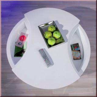 Couchtisch 2 Ebenen drehbar 2. Tischplatte Ablagemulden hochglanz weiß L-Turna - Vorschau 2