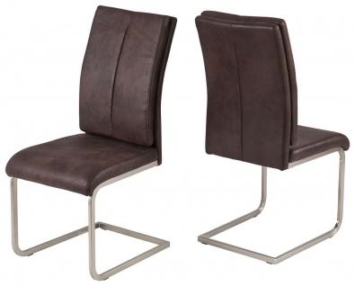 Stühle 2er Set Stuhl Wellenunterfederung Vintage beige braun Freischwinger R-Karo