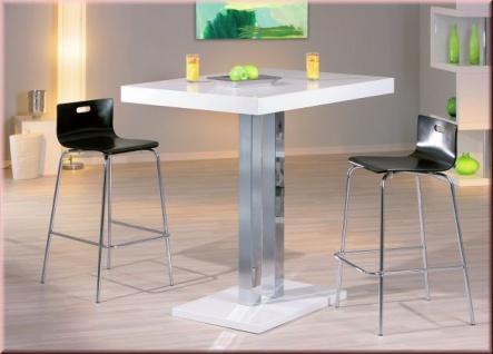 Stehtisch Tisch rechteckig Hochglanz weiß lackiert verchromt L-Prescati