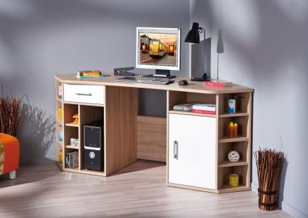 Eckschreibtisch Schreibtisch 2 Farben schwarz/weiß Sonoma-Eiche weiß L-Fabian