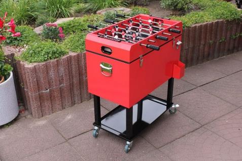 Kühlbox inkl. Kicker 4 Rollen rot schwarz Retro 69 x 37 cm LC-Coolkick
