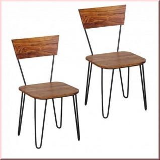 2er Set Stuhl Massivholz 2 Holzarten Akazie Sheesham 2 Stühle Metallgestell Esszimmerstuhl W-ES1545