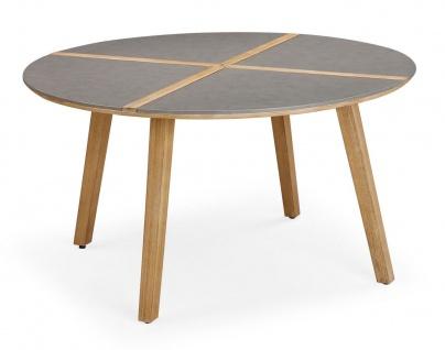 Exklusiver Dining-Tisch rund 140 cm Gartentisch Massivholz Tischplatte Beton Holzintarsie BF-Bonito