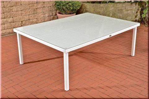 Gartentisch XXL Tisch 4 Farben 210 x 150 cm Rattan Glasplatte Gartenmöbel CL-Piazza-T