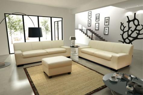 3-tlg. Couchgarnitur 3er Couch 2er Sofa Hocker Polstergarnitur 8 Farben DO-Napoli