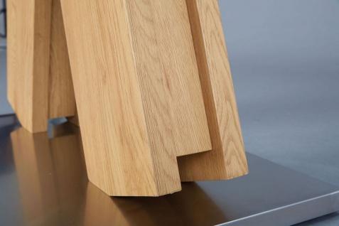Couchtisch rechteckig 110 x 60 cm Materialmix Wildeiche Edelstahl Glas L-Oxa - Vorschau 3