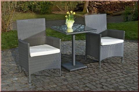 3-tlg Sitzgruppe Gartenmöbel 2x Stuhl Tisch Kissen Rattan 4 Farben CL-Pablo