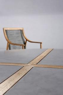 Exklusiver Dining-Tisch rund 140 cm Gartentisch Massivholz Tischplatte Beton Holzintarsie BF-Bonito - Vorschau 3