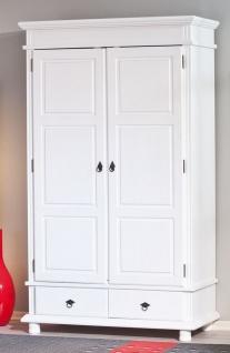 Schrank Garderobenschrank Landhausstil Massivholz 2-türig weiß 116 x 57 x 199 cm L-Dank-2