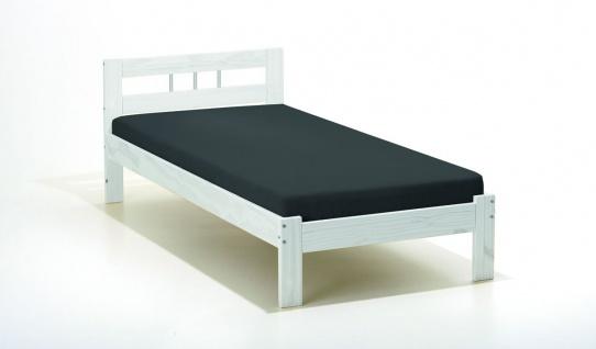 Bett Einzelbett Doppelbett Massivholz weiß 2 Breiten 2 Längen L-Fabrice