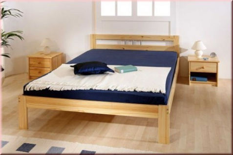 Bett Einzelbett Doppelbett 4 Größen Massivholz Kiefer natur L-Jenni