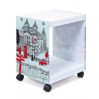 Beistelltisch Cube Rollen arretierbar Rollwagen weiß Motiv London L-London