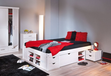 Bett Komforthöhe Größe wählbar inkl. Lattenrost Schubkästen Nachttisch Massivholz weiß L-Telli