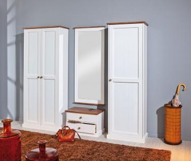 4-tlg. Garderobe Garderobenset Landhausstil Massivholz 2-farbig sepia weiß L-Wendy-G3