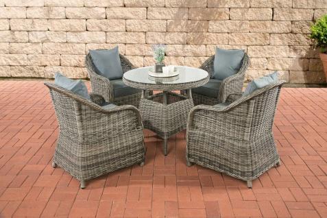 5-tlg Dining Lounge Sitzgruppe Gartenmöbel Sessel Kissen 4 Farben Tisch Rattan grau meliert CL-Fabio