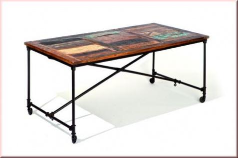 Shabby Chic Tisch Esstisch Vintage Retro Metall rostig multicolor Massivholz L-Coffina