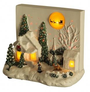 Winterlandschaft LED beleuchtet Fiberoptik Relief Mond Santa Claus Weihnachten H-Weihnacht