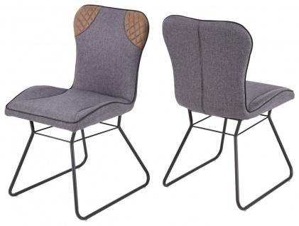 Stuhl Set 4er Pack ergonomisch Webstoff grau Lederlook Vintage braun Kufengestell graphit R-Zanta