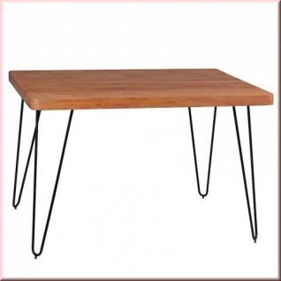 Esstisch 4 Größen Massivholz Tisch 2 Holzarten Akazie Sheesham Metall-Tischbeine W-E121501