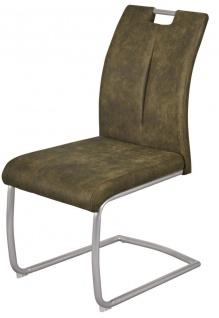 2er Set Freischwinger-Stühle Doppelpack Gurtunterfederung Stuhl 150 kg belastbar grün grau R-Sue-S