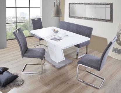 Sitzbank Rückenlehne Bank 140 cm Webstoff grau gepolstert bis 360 kg R-Stella - Vorschau 2