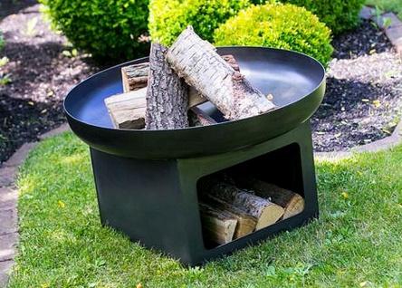 Feuerschale inkl. Holzdepot 3 Größen Stahl lackiert Rohstahl Lagerfeuerschale 60/70/80 cm N-P12