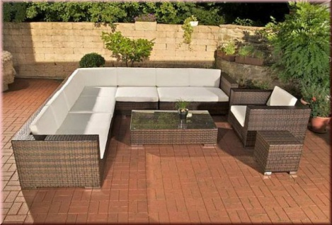 8-tlg XXL Lounge Big Sofa Sessel Tisch Hocker Rattan 4 Farben CL-Balco