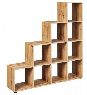 Raumteiler Regal Stufenform 2 Größen 6/10 Fächer Wotan Eiche L-Danny