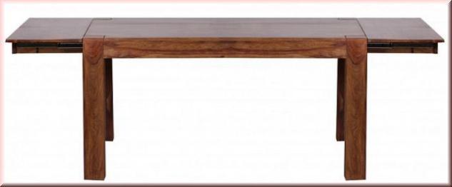 Esstisch Erweiterbar 160 240 Cm Massivholz Tisch 2 Holzarten Akazie  Sheesham Handgefertigt W E241222