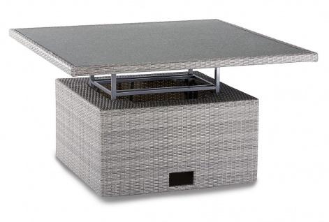 Lounge Tisch höhenverstellbar Up & Down Funktion Dining-Tisch grau-meliert wetterfest BF-Birma