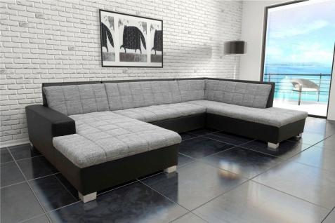 Wohnlandschaft Bettfunktion Farb- Materialmix Webware Kunstleder U-Couch DO-Quinto